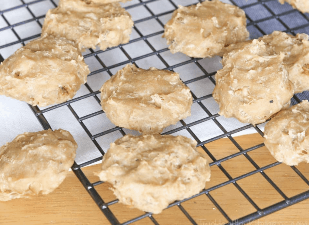 Chicken and yogurt dog biscuits on a baking tray