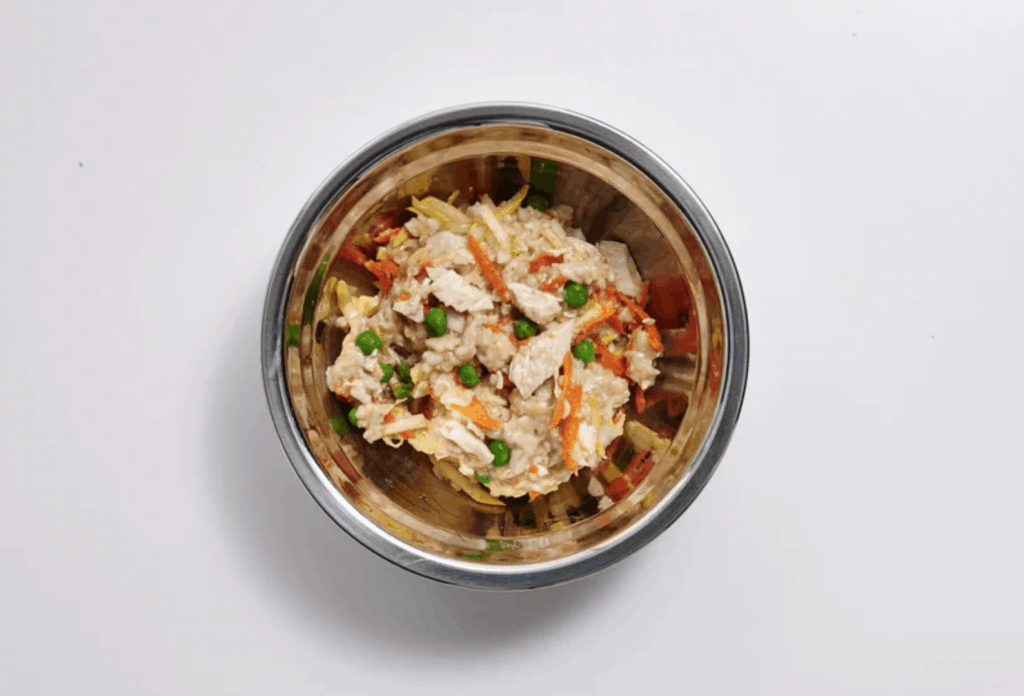 Top view of a dog bowl with chicken, oats and veggies