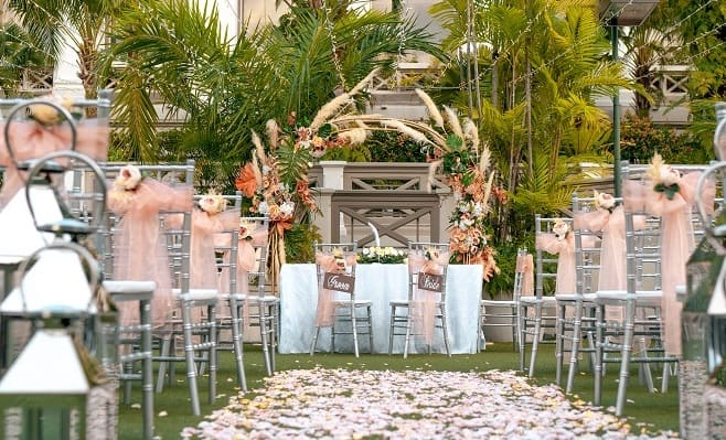outdoor wedding set up at Garden Terrace Hotel Fort Canning